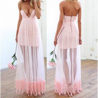 Stylish Low-Cut Design Spliced Lace Hem Dress - $19.49