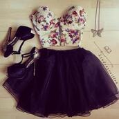 flowers,zip,heels,high heels,skirt,jewels,tulle skirt,pumps,butterfly,dress,shoes,shirt,top,tank top,t-shirt,crop,bustier,black skirt