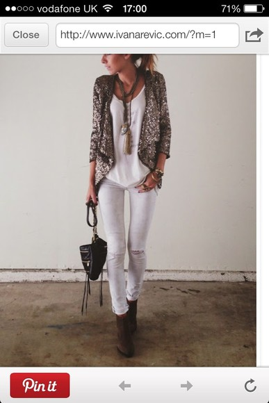 glitter coat white top trousers