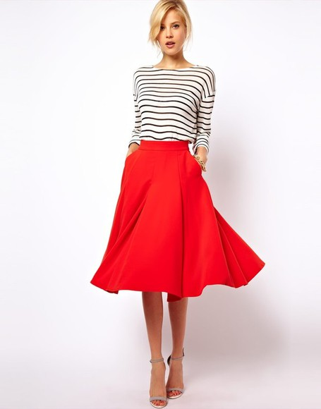 skirt red sexy red skirt asos pin-up elegant knee long skirt knee length skirt stripes striped shirt
