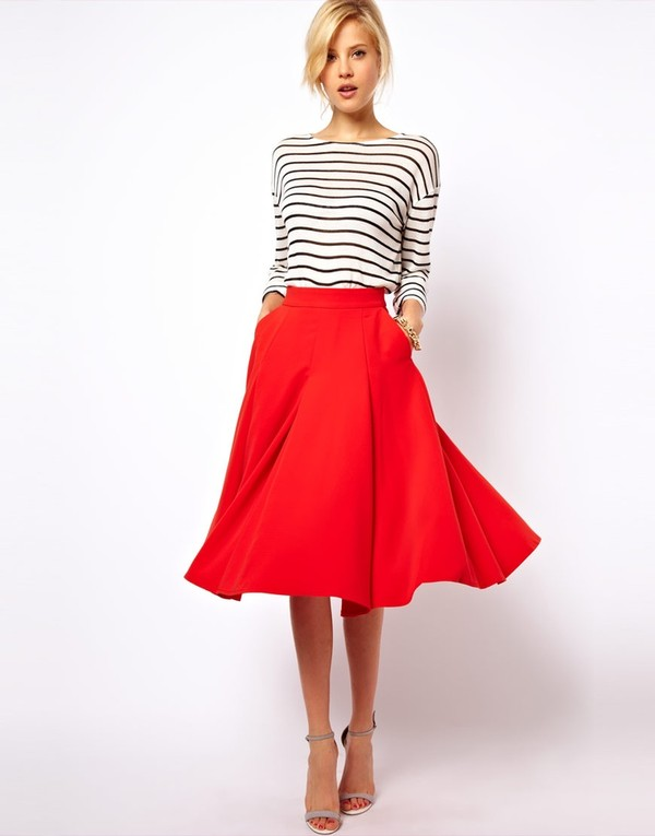 skirt red sexy red skirt asos Pin up elegant knee long skirt knee length skirt stripes striped shirt