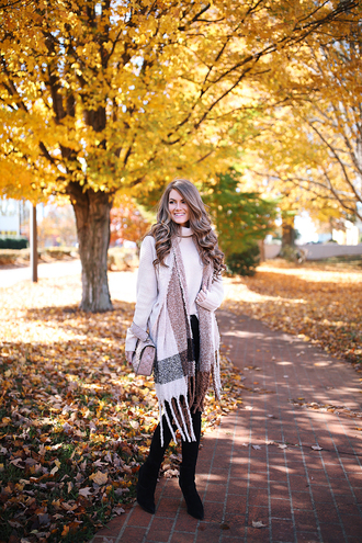 southern curls and pearls blogger scarf jeans shoes bag make-up boots fall outfits