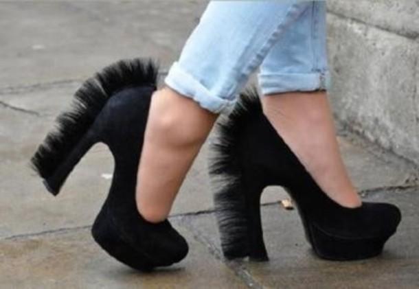 Shoes Black Zebra Mohawk Funny High Heels Wheretoget