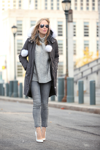 brooklyn blonde blogger coat sweater shoes sunglasses