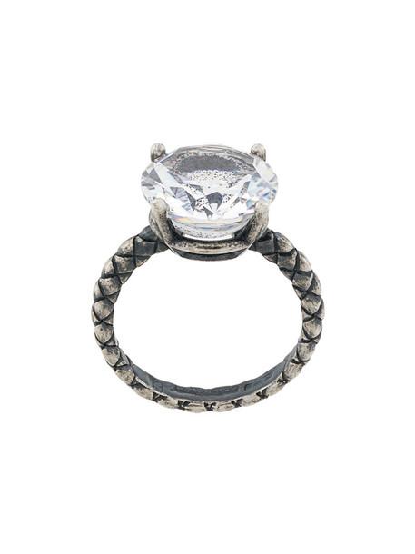 Bottega Veneta metal women ring gemstone ring grey metallic jewels