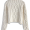 Rolling chunky cable sweater in off-white - retro, indie and unique fashion