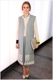 vest,olivia palermo,fashion week 2014,jewels,necklace,sweater,fall outfits