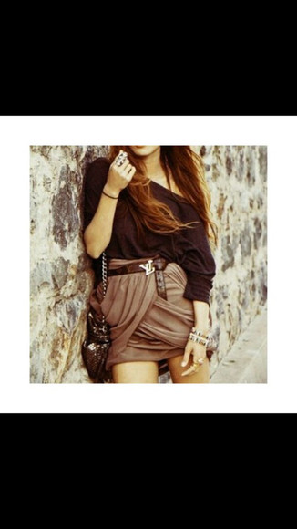 black sweater skirt drapedskirt cute skirt adorable bag brown belt