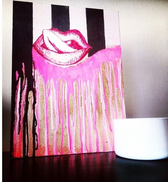 home accessory painting wall decor home decor decoration room accessoires dorm room lips metallic print candle candlelight acessories living room