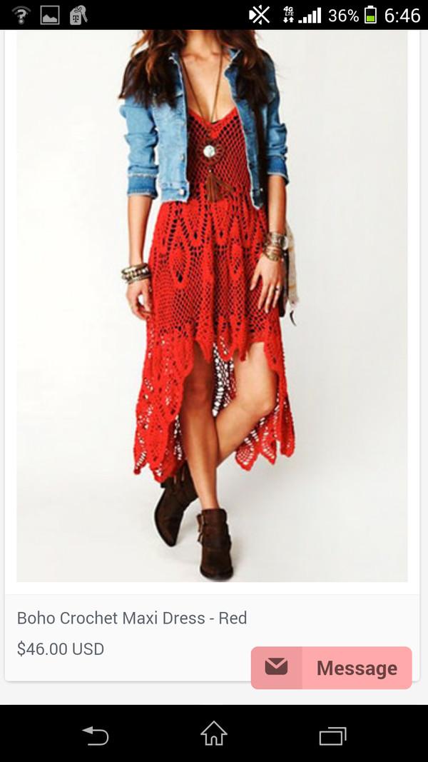dress crochet red tejido red dress crochet dress red crochet dress boho chic boho dress bohemian dress summer dress spring dress