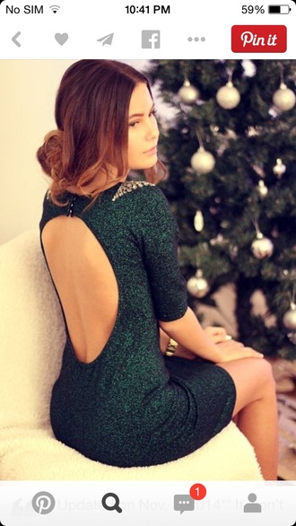 green dress holiday dress new year's eve open back prom dress short dress sparkly dress forest green christmas holiday season new year's eve dress