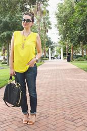 a pretty penny,blouse,jeans,jewels,bag,shoes,sunglasses