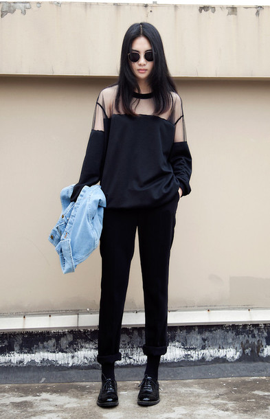 Sweater Black Sweater Sheer Mesh See Through See Through Black Stree Street Street Goth