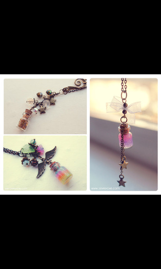 jewels necklace neon rainbow wings glitter stars girly magic