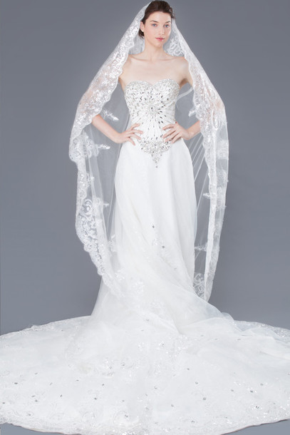 Dress wedding clothes wedding dress lace wedding dress for Long veil wedding dresses