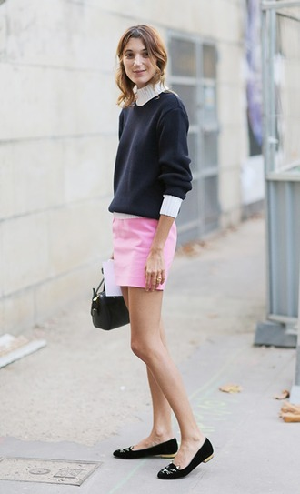 sweater french girl black sweater bag flats black flats skirt mini skirt pink skirt black bag