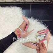 shoes,heels,Valentino,rainbow,multicolor,nude,blue,pink,purple,yellow,spikes