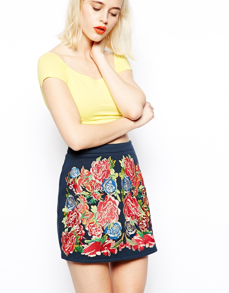 ASOS Premium A-Line Skirt With Floral Embroidery at asos.com