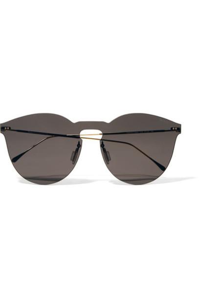 Illesteva - Leonard Ii Mask Round-frame Gold-tone Sunglasses - Gray