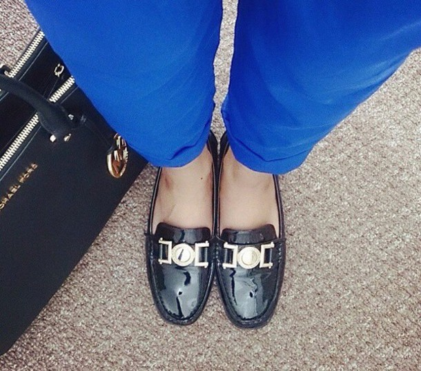 shoes moccasins blue pants