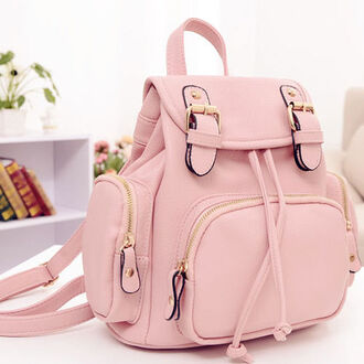 bag backback pockets zips small median sized amazing light pink lovely beautiful attractive pastel bag
