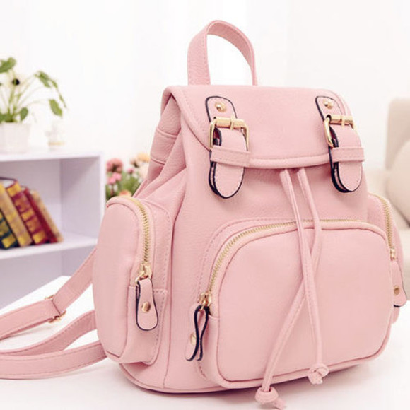 bag adorable backback pockets zips small median sized amazing light pink beauty attractive