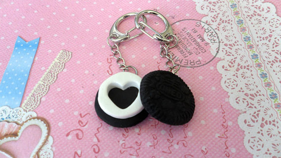Long Distance BFF Best Friend Oreo Style  Keychains by Cherrydot