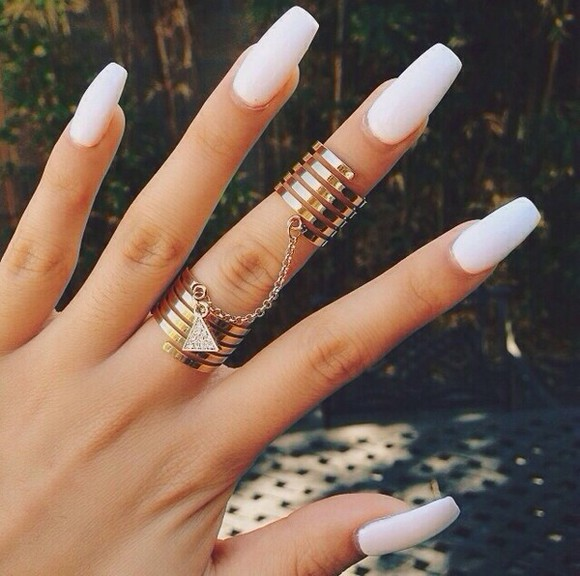 jewels ring nails nail silver rings gold triangle white swirl cute fashion diamond crystal chain double ring two piece gold rings white nails ring gold