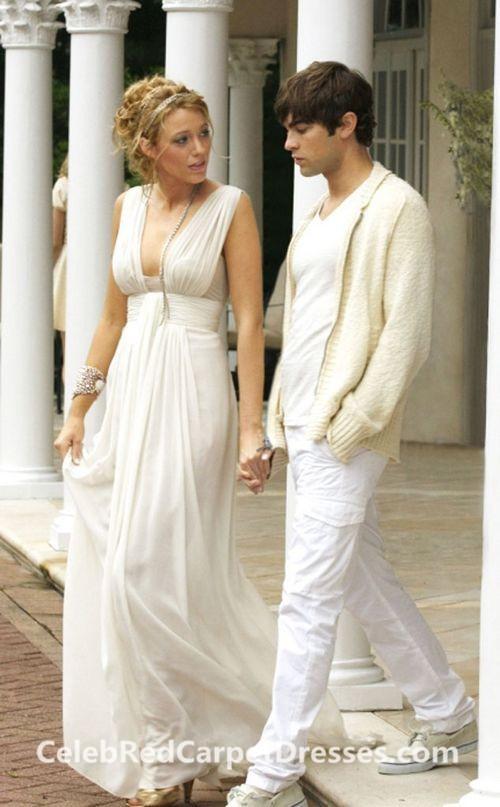 Blake Lively Sleeveless V-neck White Chiffon Prom Dress in Gossip Girl