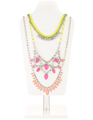 Neon Bling Statement Necklace | Multi | Accessorize
