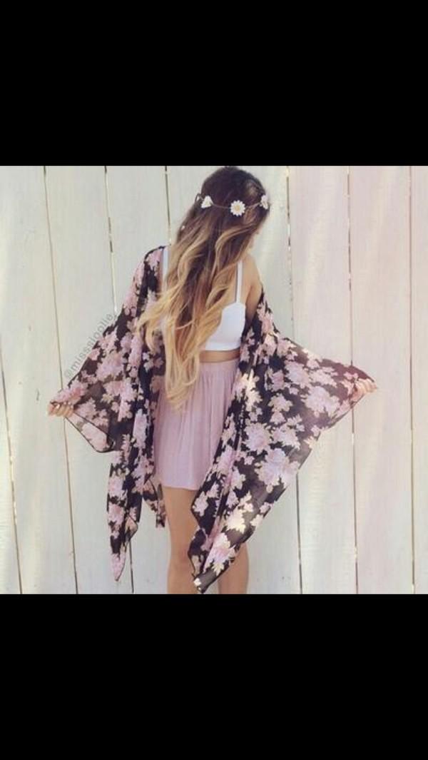 cardigan kimono skirt top pink flowers