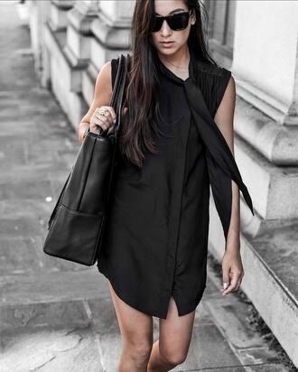 dress tumblr little black dress black dress mini dress shirt dress sleeveless sleeveless dress bag tote bag black bag all black everything sunglasses black sunglasses