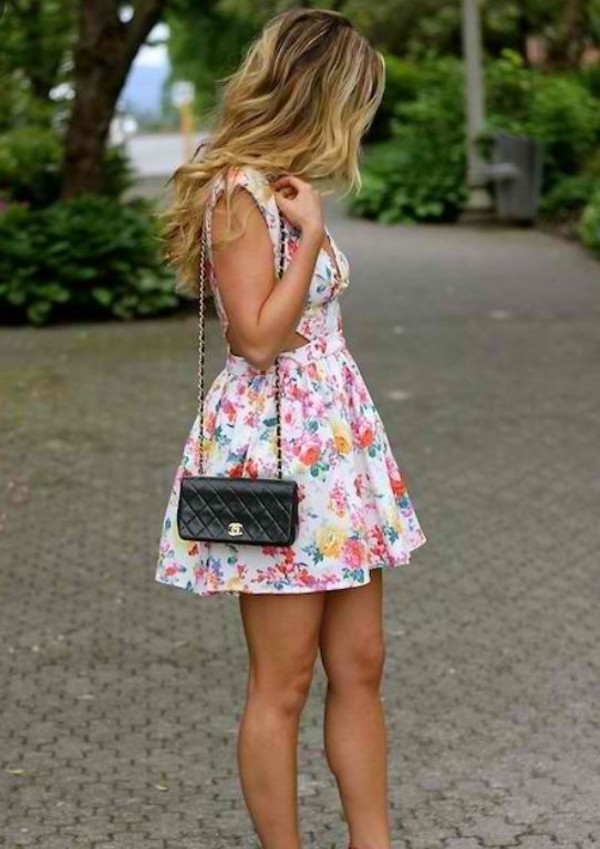 dress ici fashion cut-out dress floral dress floral dress summer dress