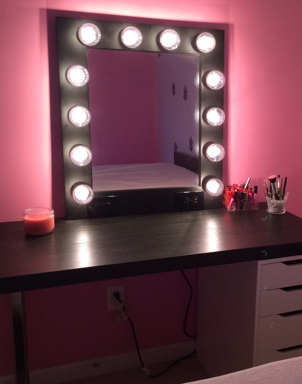 stand up vanity mirror with lights. Make up Mirror with lights  Vanity mirror in many colors Hollywood style wall hanging or stand alone miroire maquilleuse