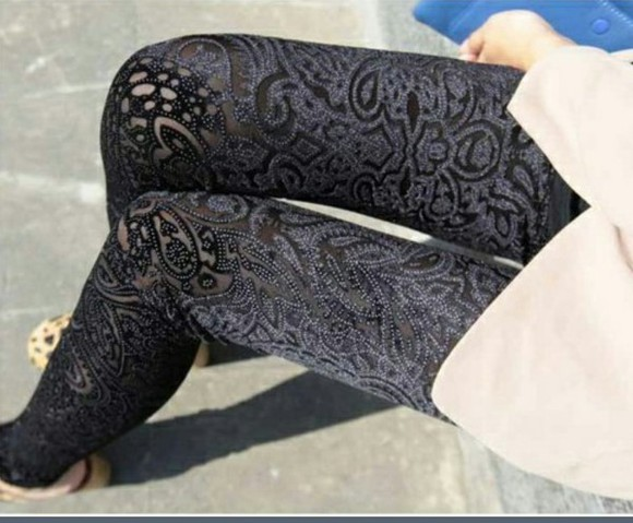 black leggings spitze