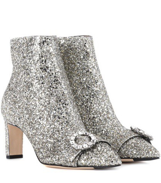 Jimmy Choo glitter ankle boots silver shoes