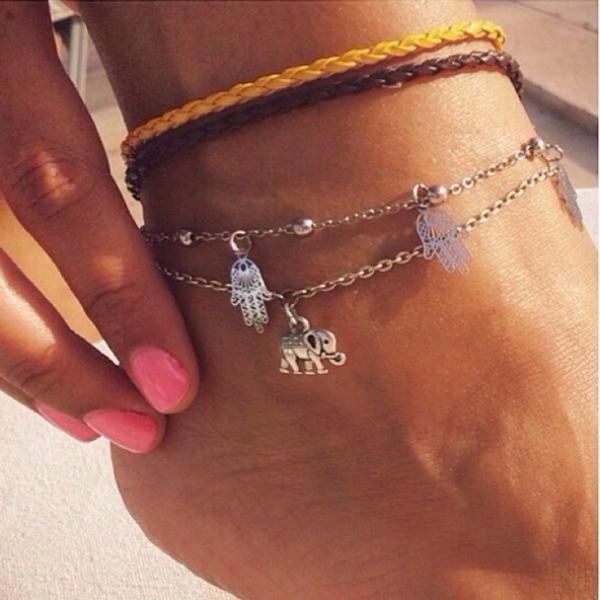 jewels bohemian anklet hasma boho elephant hasma hand