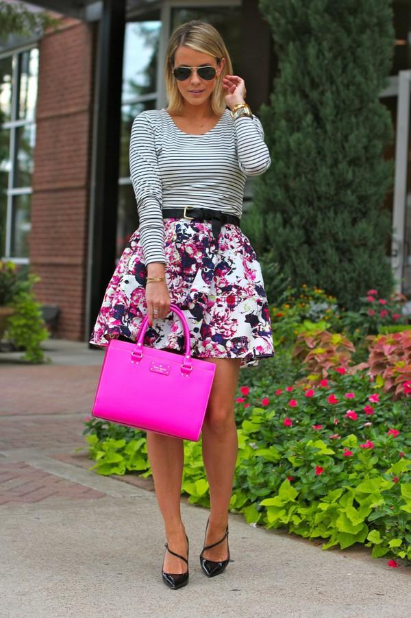 the courtney kerr blogger top belt bag jewels sunglasses skirt shoes