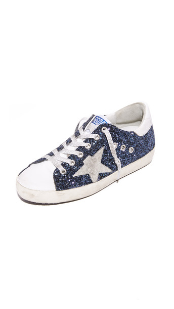 Golden goose glitter sneakers navy shoes