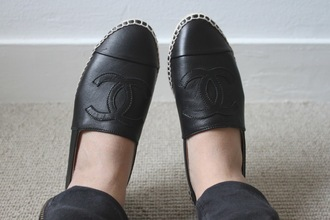 shoes chanel espadrilles flats black leather shirt
