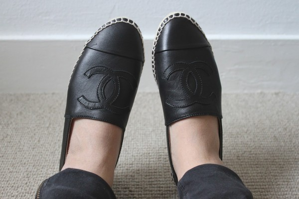 shoes chanel espadrilles flats black leather shirt