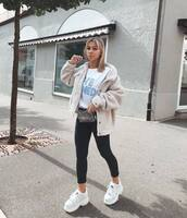 shoes,sneakers,white sneakers,platform sneakers,black jeans,skinny jeans,white t-shirt,jacket,faux fur jacket,belt bag