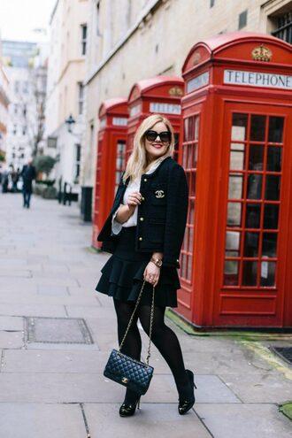agirl astyle blogger jacket blouse skirt bag shoes sunglasses make-up chanel chanel bag pumps black jacket spring outfits