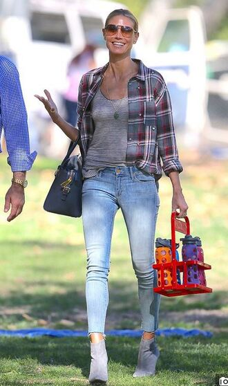 shirt heidi klum ankle boots jeans fall outfits