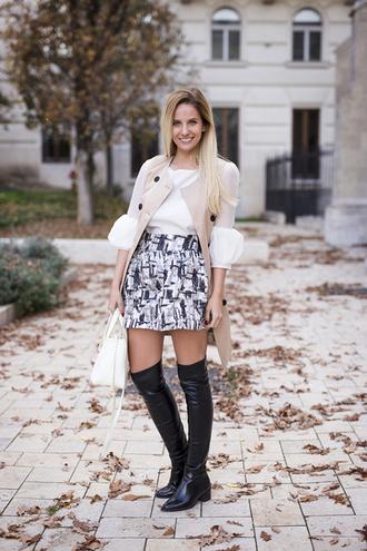 pattern blogger blouse thigh high boots bag the sense mini skirt