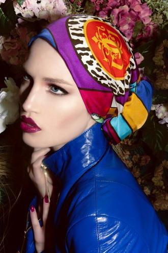 jacket maroon lipstick head scarf blue jacket patent leather lipstick bright colors make-up