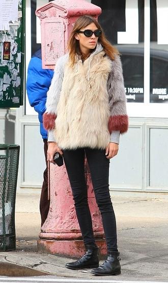 coat jacket sunglasses fur alexa chung fall outfits
