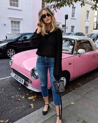 sweater tumblr black sweater knit knitwear knitted sweater denim jeans blue jeans sunglasses bag handbag blouse black blouse