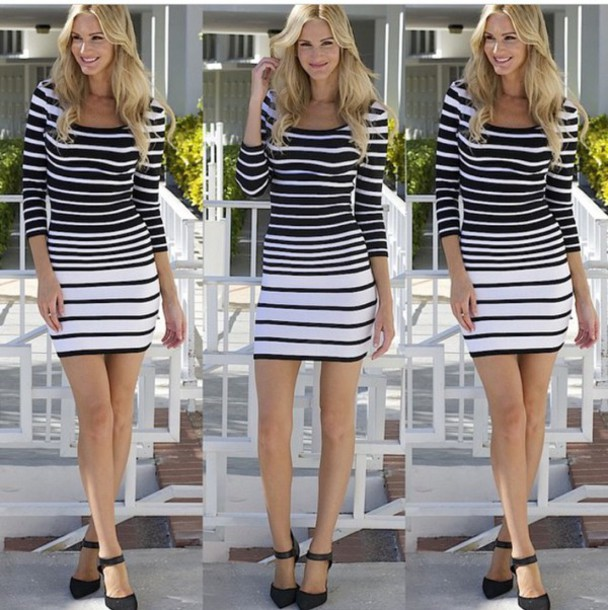 dress fashion style stiped black dress white dress
