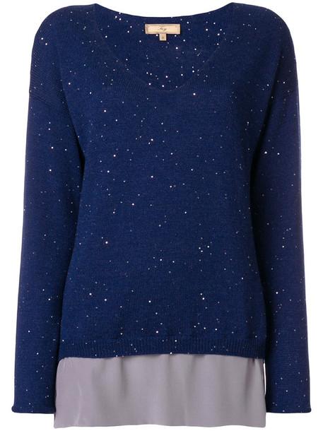FAY jumper women blue silk wool sweater